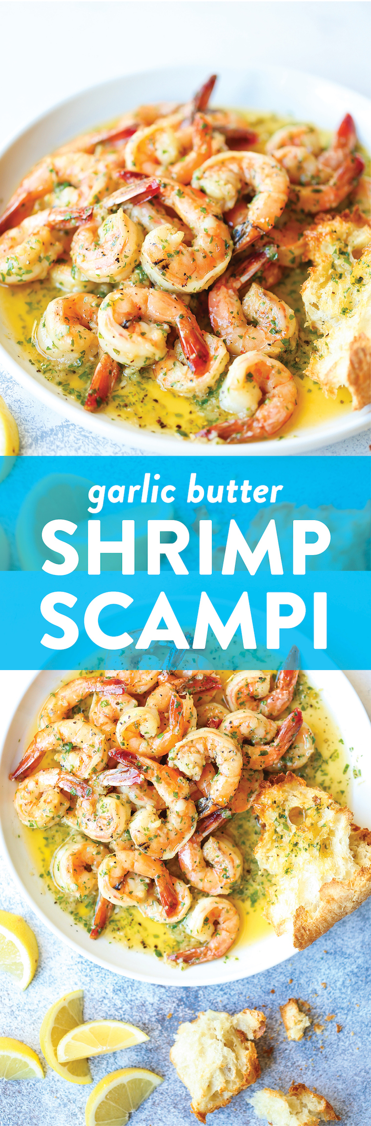 Garlic Butter Shrimp Scampi - Made in just 20 min from start to finish! The garlic butter sauce is TO DIE FOR - so buttery, so garlicky/lemony + so perfect!