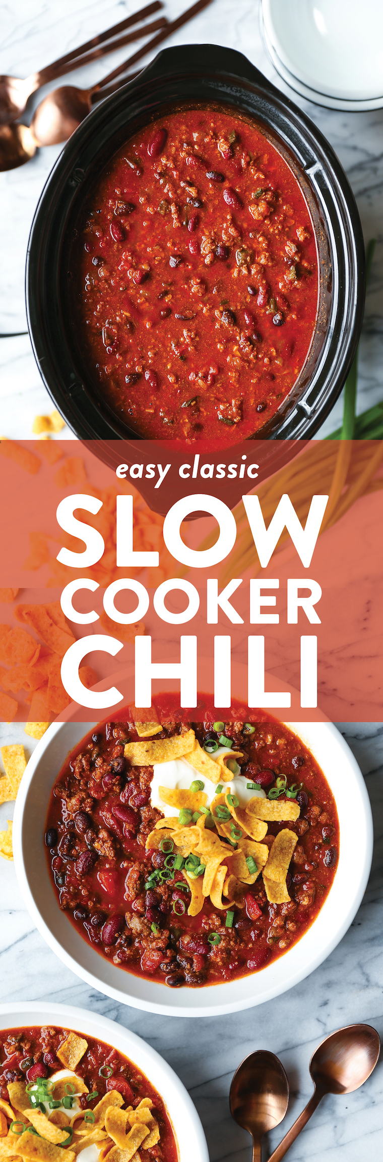 Easy Slow Cooker Chili - Come home to the best homemade chili! It's an amazingly hearty, cozy beef chili that cooks low and slow for 8 hrs in the crockpot!
