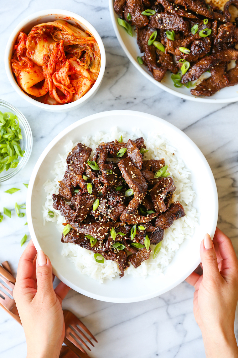 Korean Beef Bulgogi - A super easy recipe for Korean BBQ beef with the most flavorful marinade! The thin slices of meat cook quickly, and it's so tender!!!