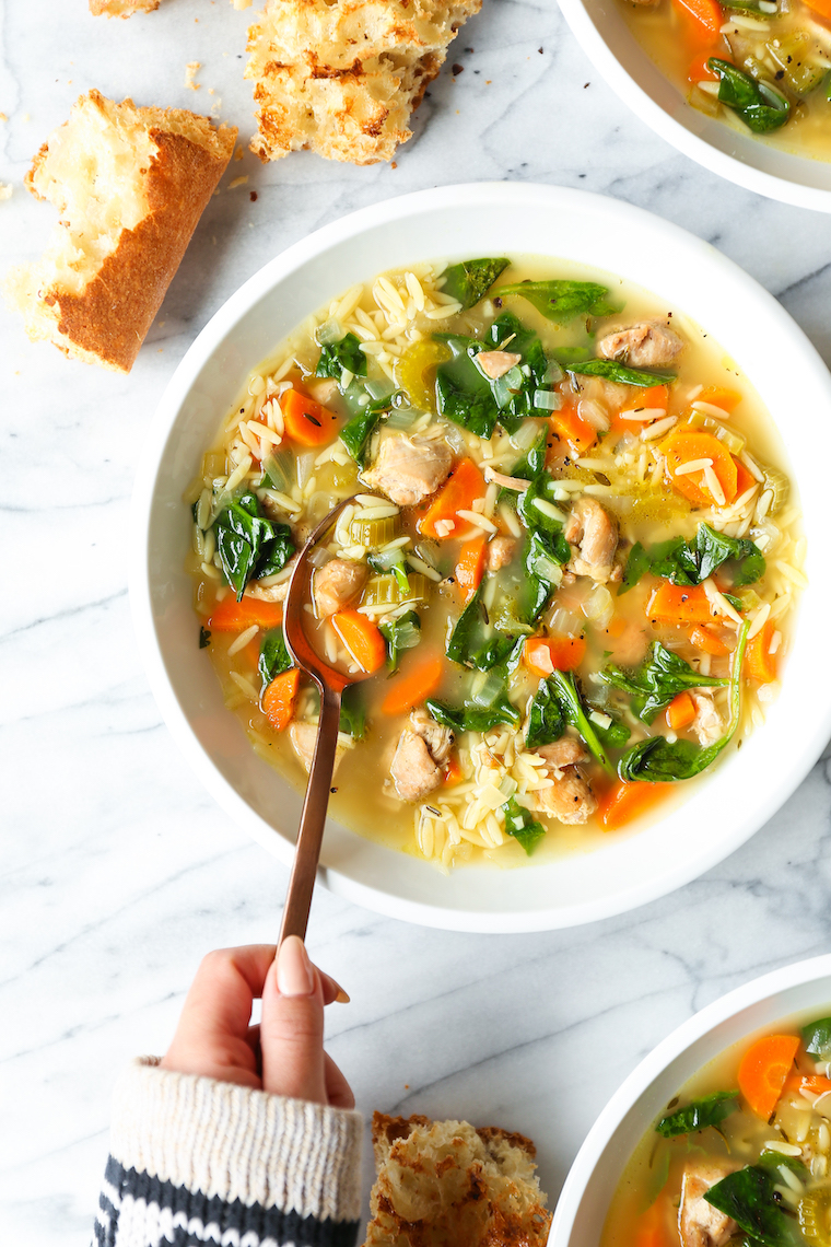 Slow Cooker Lemon Chicken Orzo Soup - The best kind of comfort food you can make right in your crockpot! Even the uncooked orzo cooks in the slow cooker!