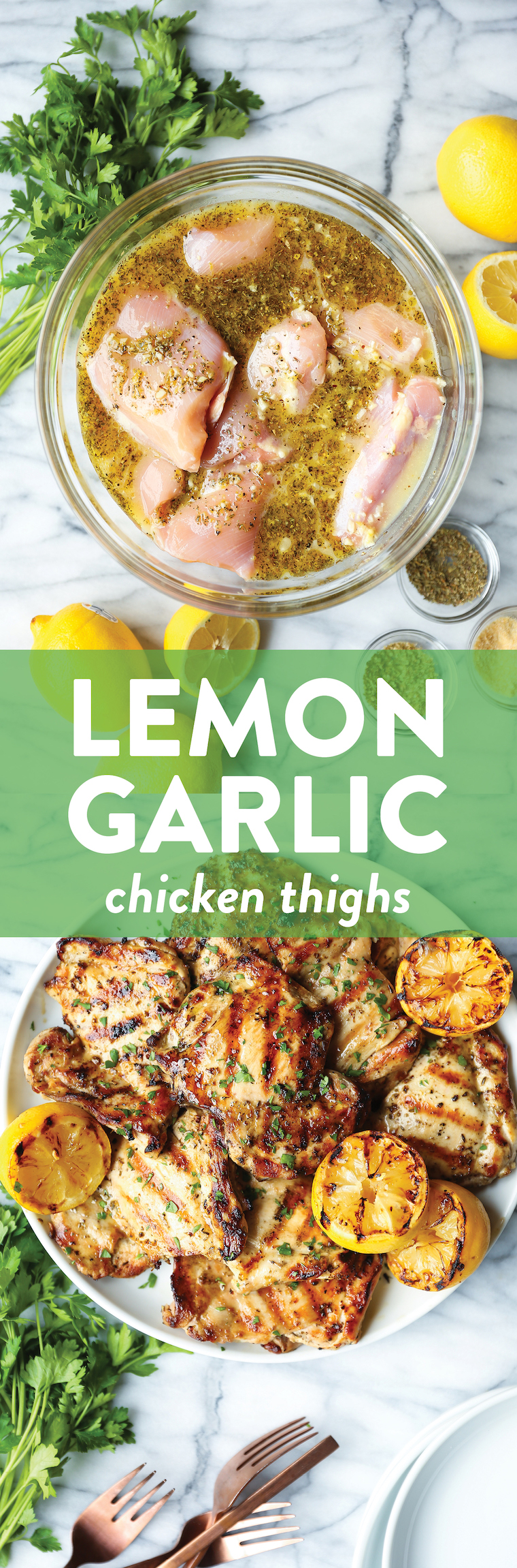 Lemon Garlic Chicken Thighs - Olive oil, lemon juice/zest, garlic, Dijon, oregano, thyme. THE BEST marinade ever. Made on the grill or stovetop. SO SO GOOD.