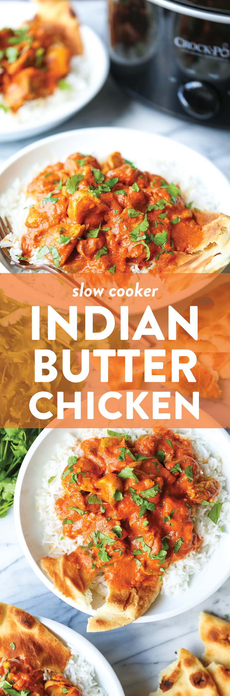 Slow Cooker Indian Butter Chicken - Simple prep with zero fuss! Restaurant-quality butter chicken made so easily in the crockpot. Serve with rice and naan.