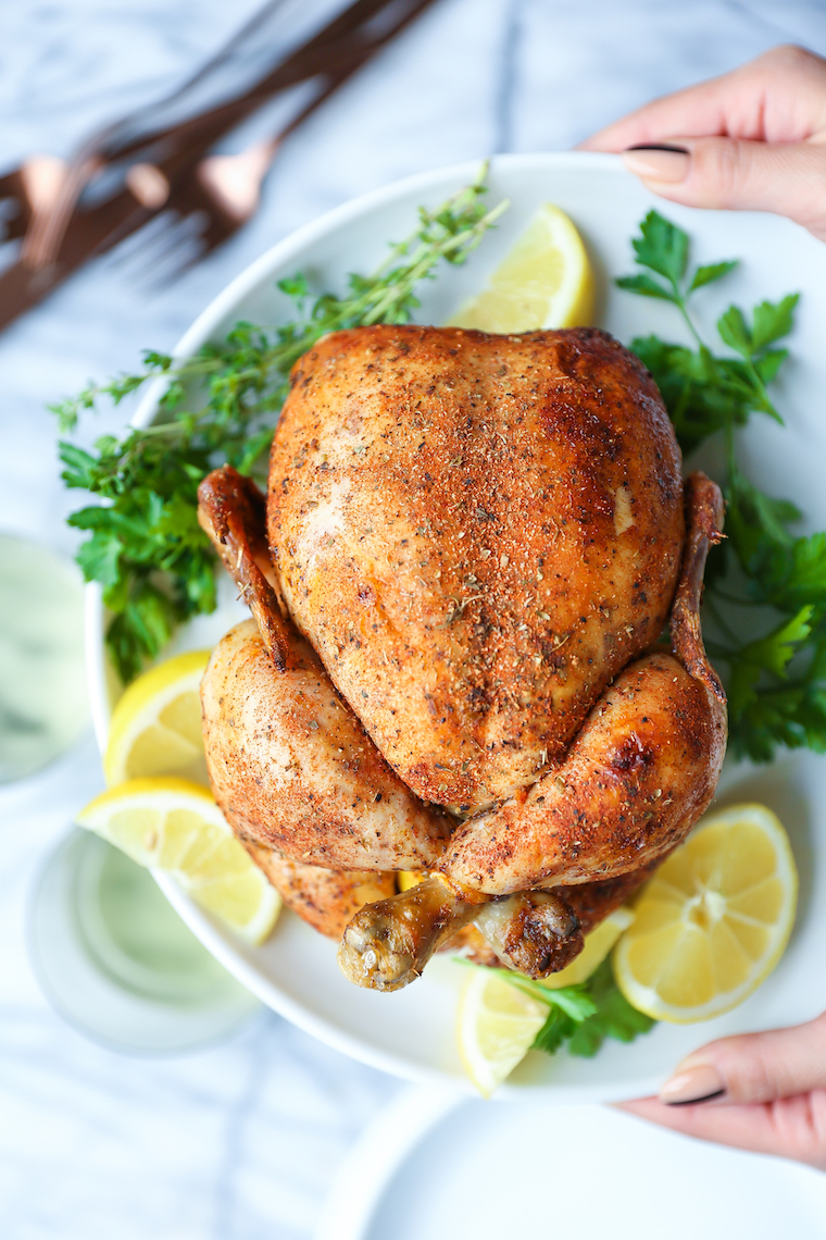 Slow Cooker Rotisserie Chicken - No more store-bought chicken! Nope, you can make this in the crockpot with only 15 min prep. So tender, moist and juicy!