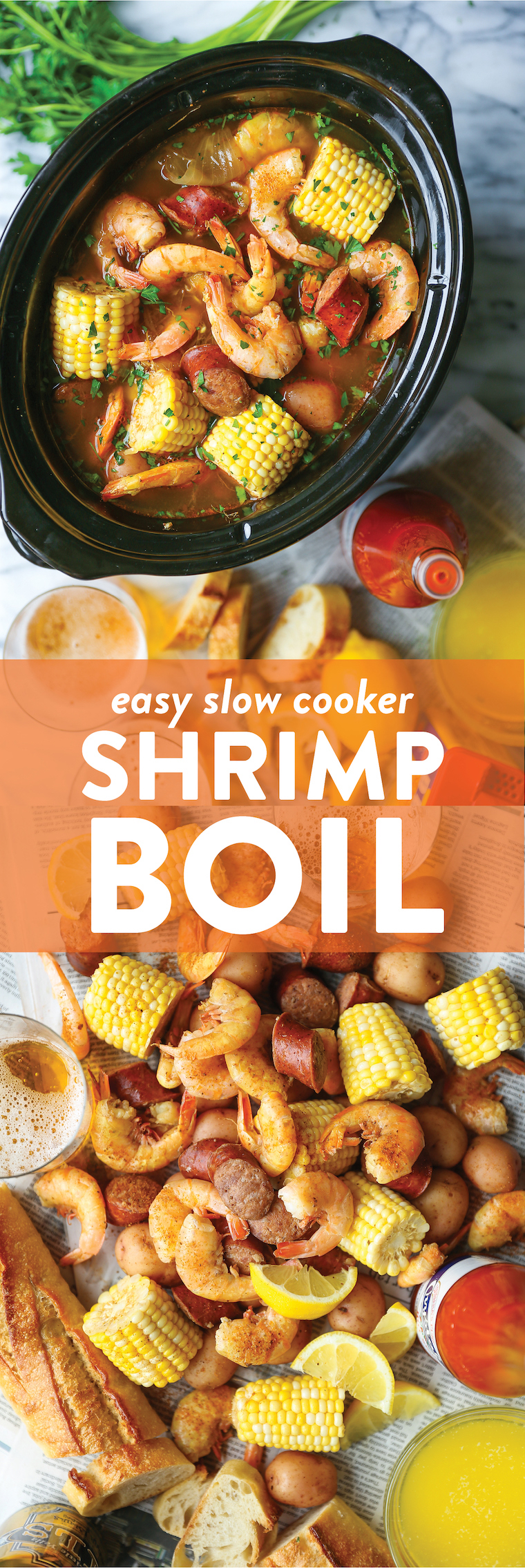 Slow Cooker Shrimp Boil - Red potatoes, andouille sausage, shrimp, corn, Old Bay. A classic shrimp boil made without any of the fuss right in your crockpot!