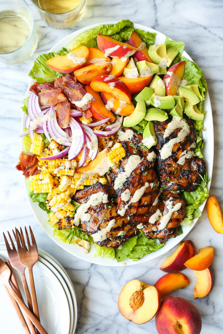Rosemary Chicken and Peach Salad - Peach slices, grilled rosemary-thyme chicken, charred corn kernels and crisp bacon with the creamiest balsamic dressing!