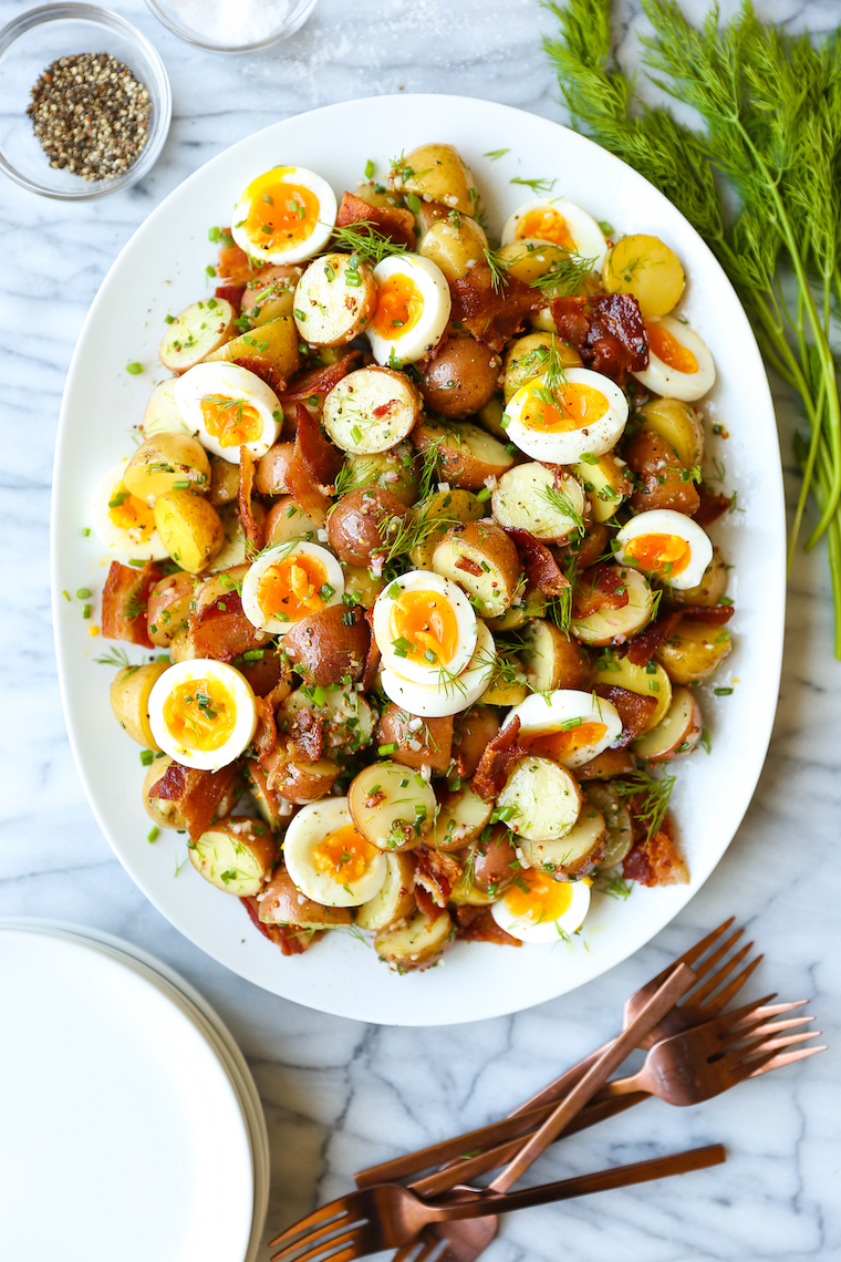 Warm Potato Salad - Crisp bacon with a Dijon vinaigrette and fresh dill with soft boiled eggs make for the best warm potato salad ever. So simple, so good.