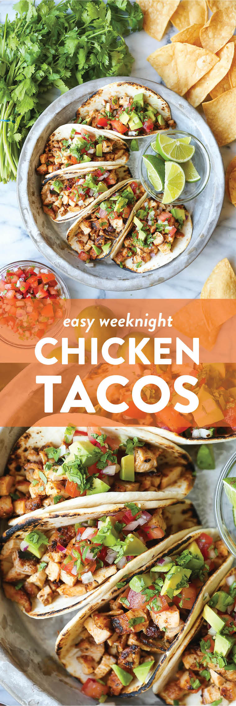 Easy Chicken Tacos - With a simple spice rub, the chicken is cooked so quickly on the stovetop! Dice into small pieces and serve with pico, avocado + lime!