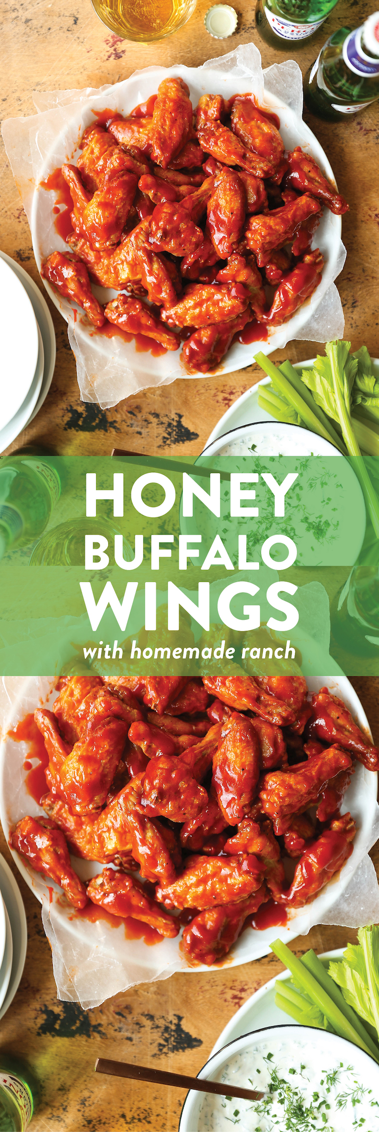 Honey Buffalo Wings with Homemade Ranch - So crispy, so sticky, so finger-licking amazing!!! Plus, the homemade Ranch? MIND BLOWN. Pass the beer, please!!!