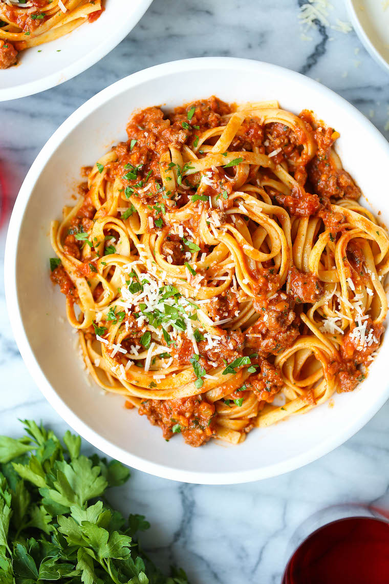 Instant Pot Bolognese - Now you can make the most EPIC bolognese sauce in just 1 hr rather than 3-4 hrs! So rich, hearty, and chockfull of meat and veggies!
