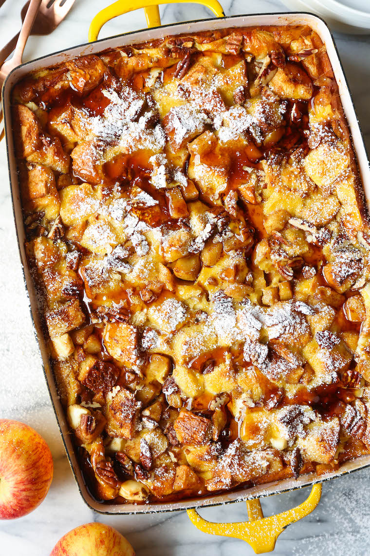 Overnight Cinnamon Apple French Toast Bake - Prepare the night before! Soaked in maple syrup, tender cinnamon apples + topped with toasted pecans. SO GOOD.