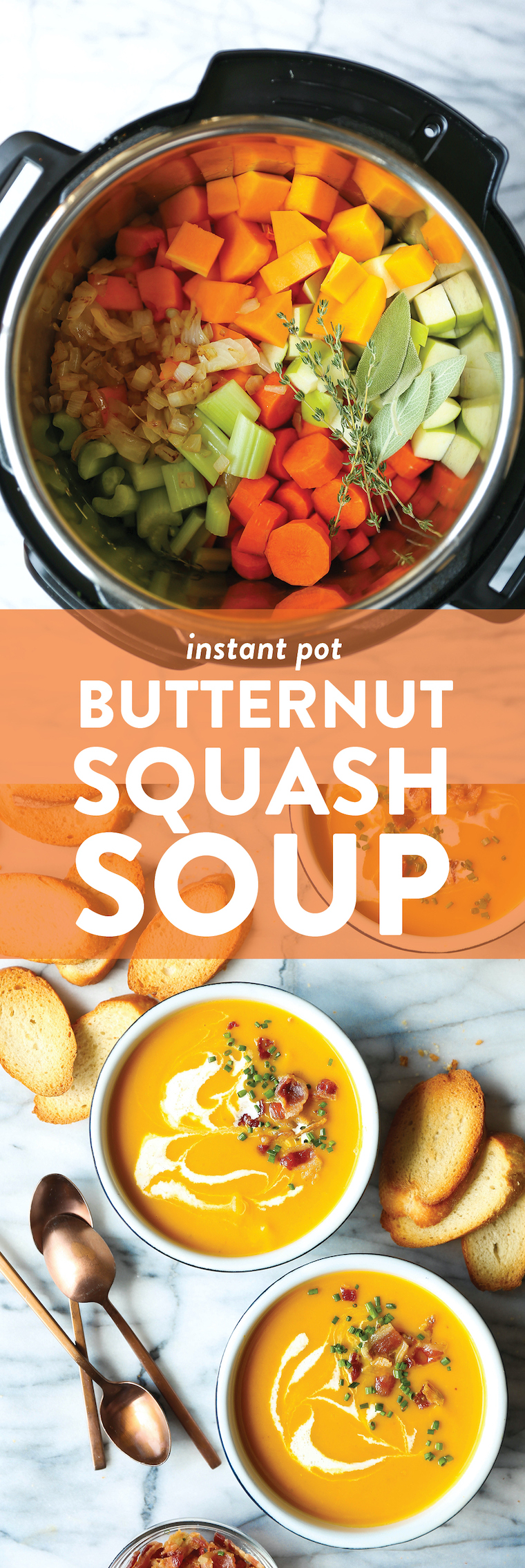 Instant Pot Butternut Squash Soup - Now you can make butternut squash soup in just half the time in the IP! Quick, easy, velvety smooth and so so cozy.
