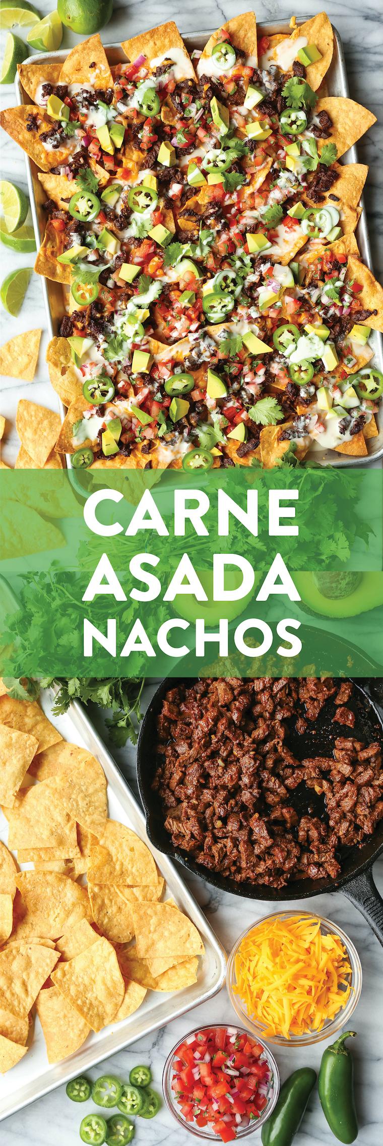 Carne Asada Nachos - BEST NACHOS EVER! Loaded with the easiest, most tender carne asada, sharp cheddar, pico de gallo, avocado, jalapeno + drizzle of queso!