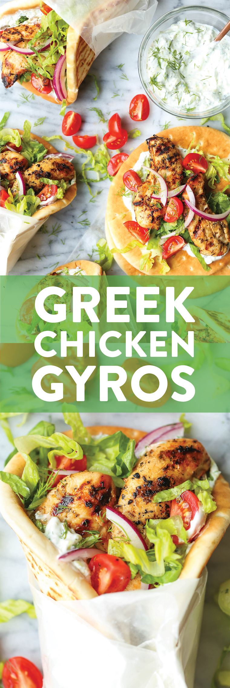Greek Chicken Gyros - Easy, make-ahead chicken gyros! You can marinate the chicken ahead of time and whip up your homemade tzatziki too! So fast, so good!