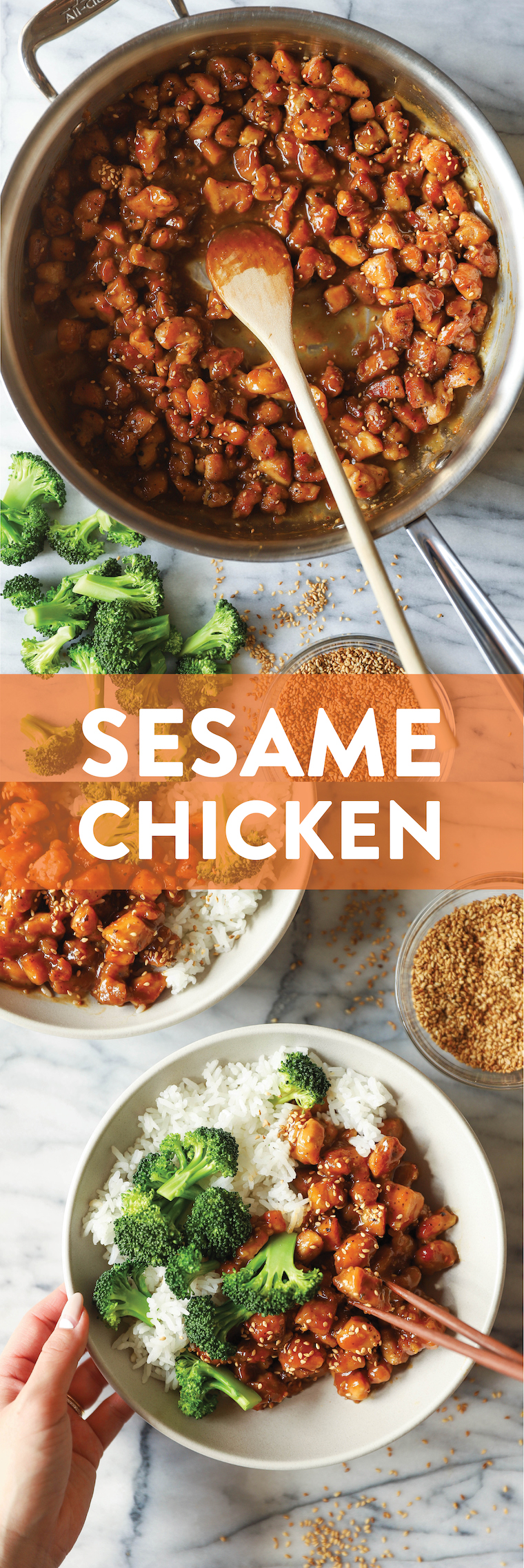 Sesame Chicken Bowls - Super saucy, crisp-tender sesame chicken! 1000x better than takeout, made in 30min or less. Serve with rice and broccoli. SO SO GOOD.