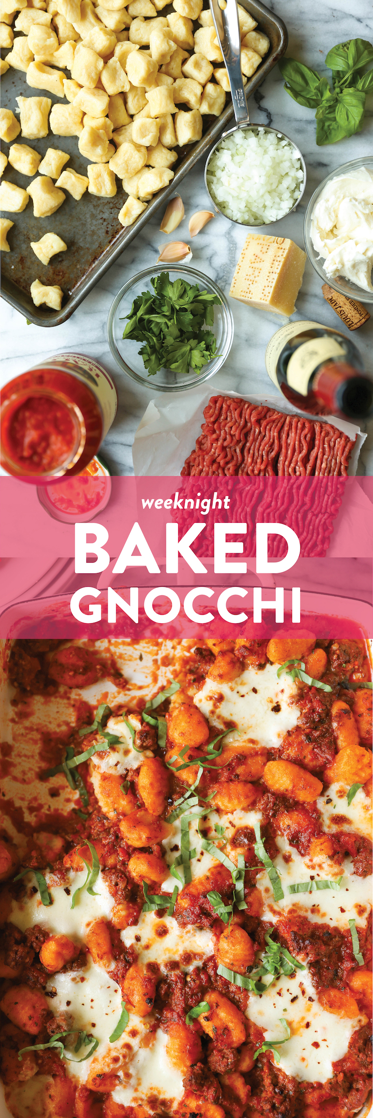 Weeknight Baked Gnocchi - Super simple, quick and easy with a very short ingredient list! SO GOOD, so comforting, and a sure hit with the entire family!
