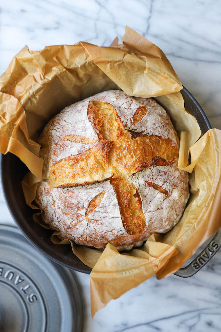 Easy No Knead Bread - FOOL-PROOF and only 4-ingredients! So hearty and rustic with the most amazing crust + fluffy, soft, chewy inside. Seriously, SO GOOD.