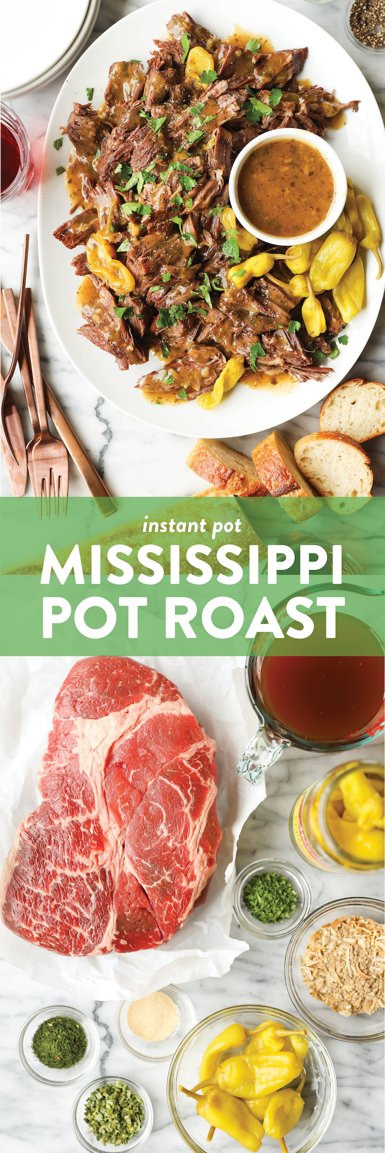 Instant Pot Mississippi Pot Roast - The most amazing pot roast ever! Made in the IP in just a fraction of the time. So juicy and melt-in-your-mouth tender!