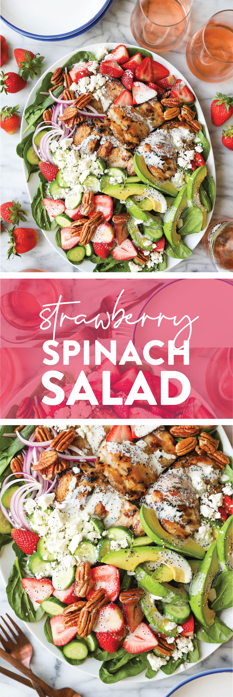 Strawberry Spinach Salad - A crowd favorite! Loaded with baby spinach, fresh strawberries, juicy, tender chicken thighs + the dreamiest poppy seed dressing!