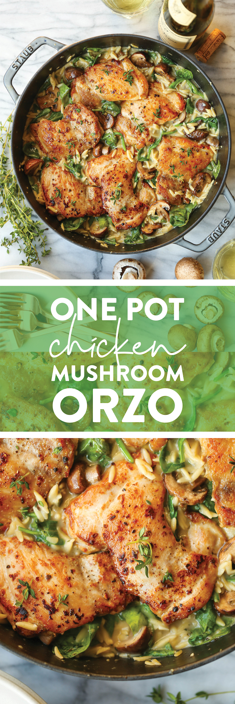 One Pot Chicken and Mushroom Orzo - Amazingly creamy orzo with juicy chicken, mushrooms and baby spinach. All made in one skillet, even the uncooked pasta!