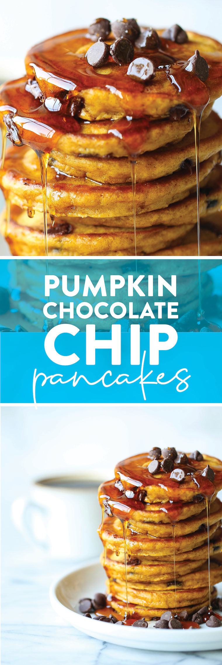 Pumpkin Chocolate Chip Pancakes - The most amazing pumpkin pancakes - so light + fluffy and made with semisweet chocolate chips. PERFECTION.