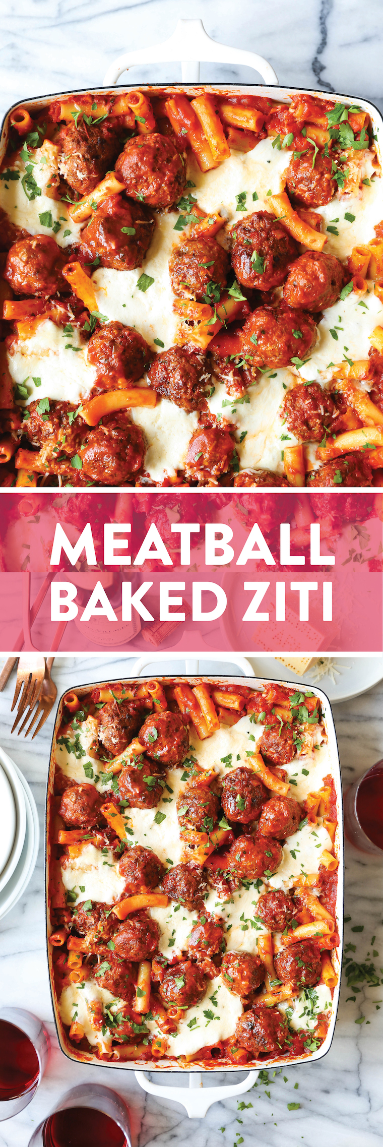 Meatball Baked Ziti - Cheesy baked ziti with the easiest homemade meatballs. Quick to prepare and so so good. Comfort food at its best here!