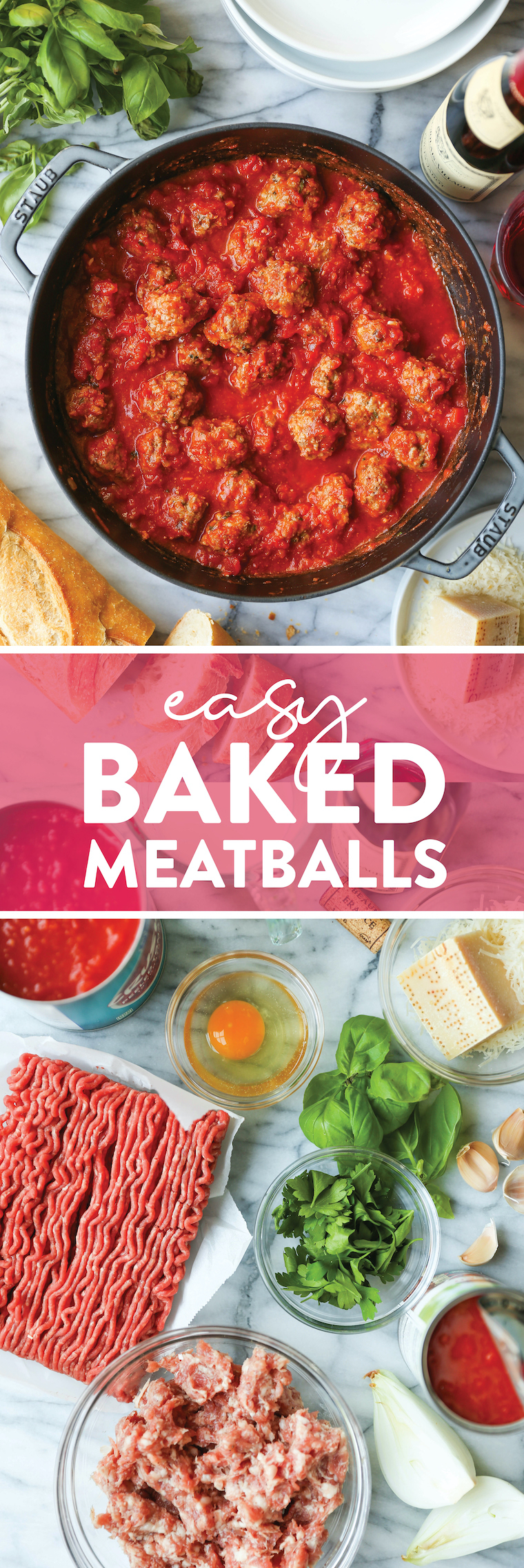 Easy Baked Meatballs - The ONLY meatball recipe you need! The meatballs come out so perfect and so tender. Serve on pasta, polenta, or subs!