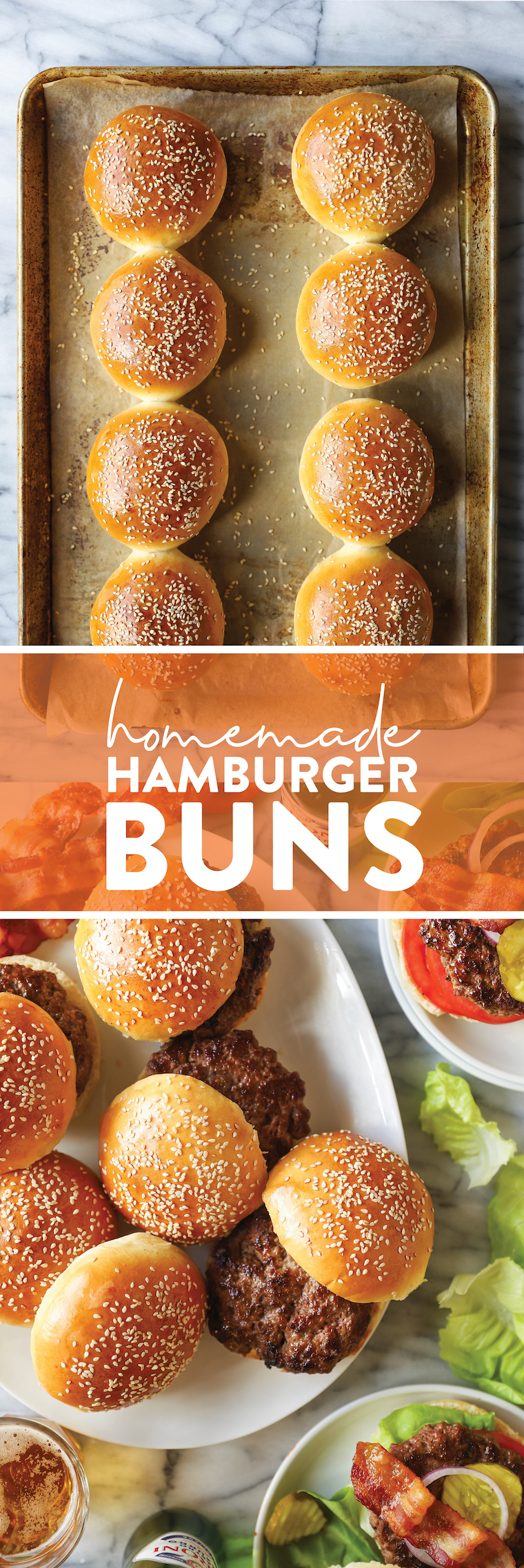 Homemade Hamburger Buns - THE BEST buns ever! So soft, pillowy and airy, perfect for any sandwich. You'll never want store-bought ever again!