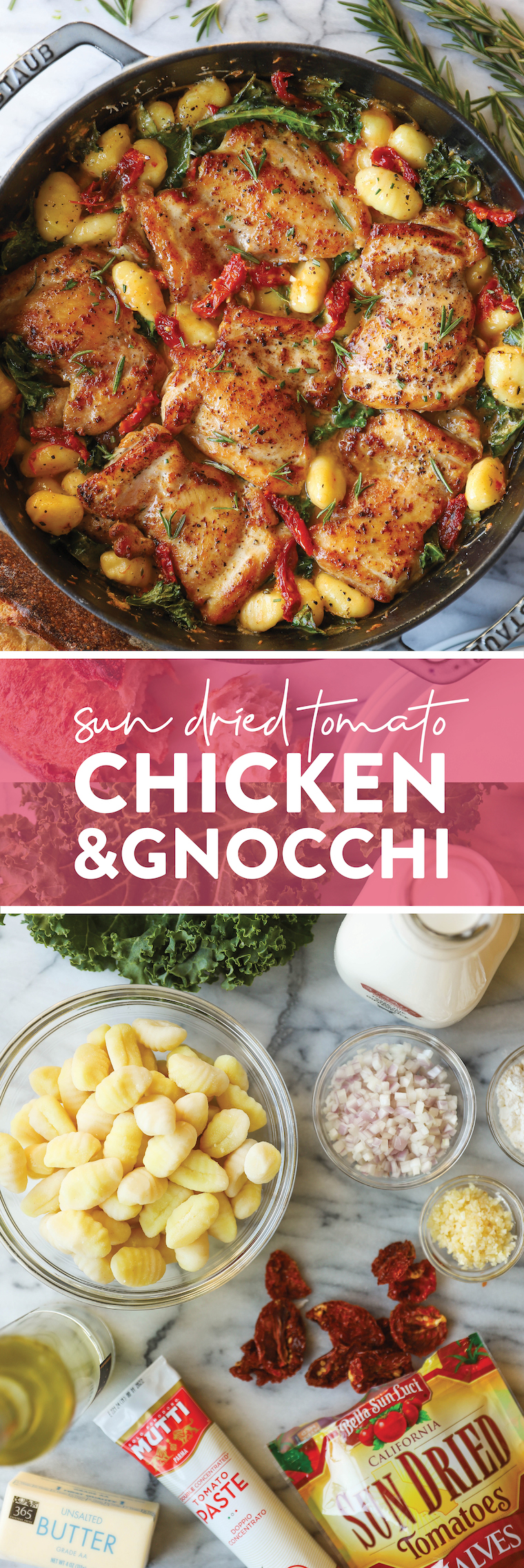 Цыпленок с вялеными помидорами и ньокки - Нежные, сочные куриные бедра в УДИВИТЕЛЬНОМ чесночном соусе из вяленых на солнце томатов.  Так просто, так хорошо.