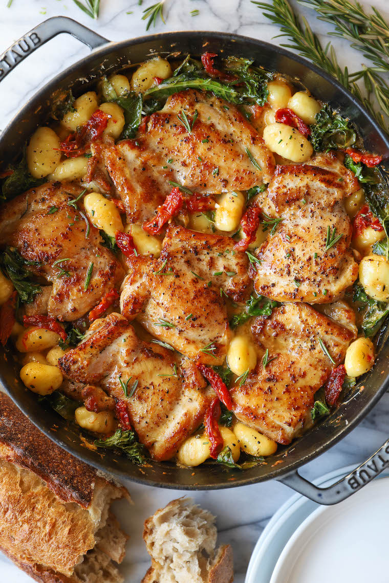 Sun Dried Tomato Chicken and Gnocchi - Tender, juicy chicken thighs in an AMAZING garlicky sun dried tomato cream sauce. So simple, so good.