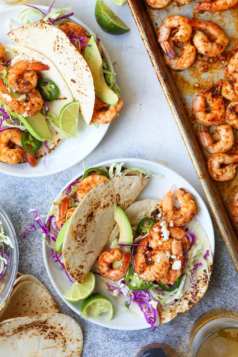Sheet Pan Shrimp Tacos - The easiest, fastest way to make shrimp tacos! So fresh and flavor-packed, made in less than 30 minutes. Win-win!