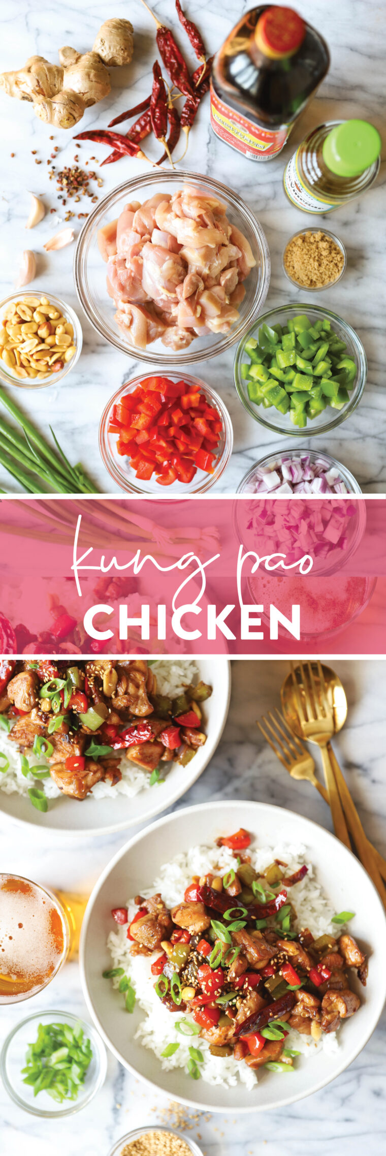 Kung Pao Chicken - Everyone's favorite chicken stir-fry made so easily right at home! Slightly salty, sweet, sour + spicy. A winning combo!
