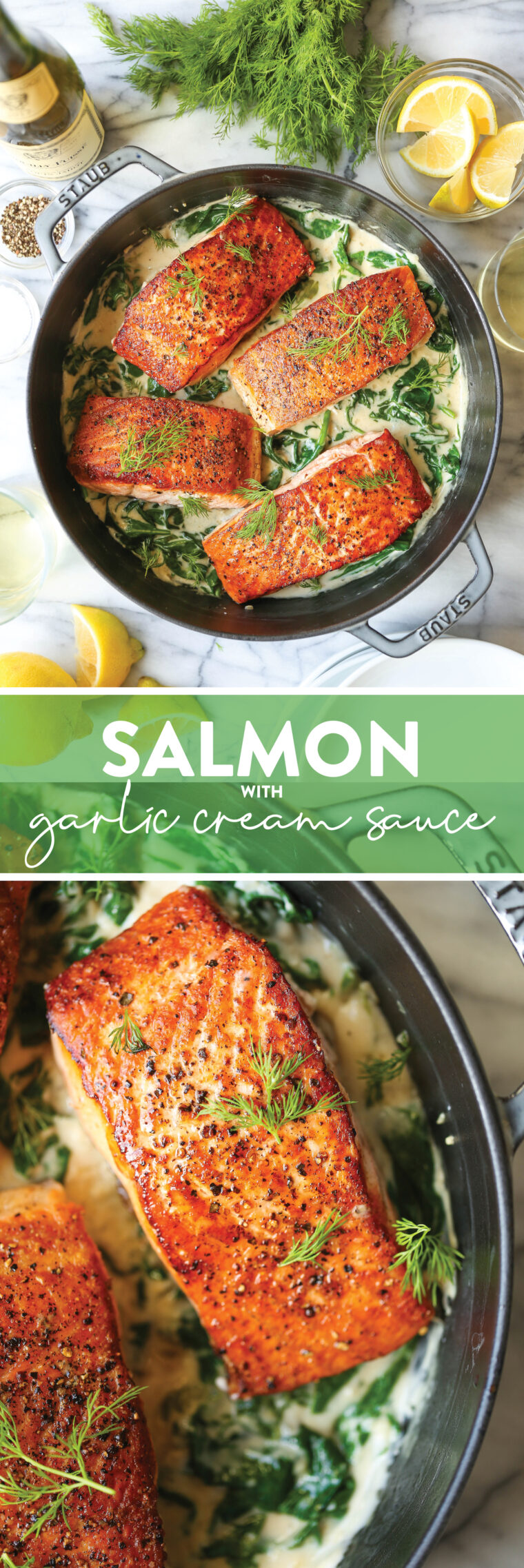 Salmon with Garlic Cream Sauce - Perfectly pan-seared salmon served with the most irresistible garlicky cream sauce with sneaked in spinach!
