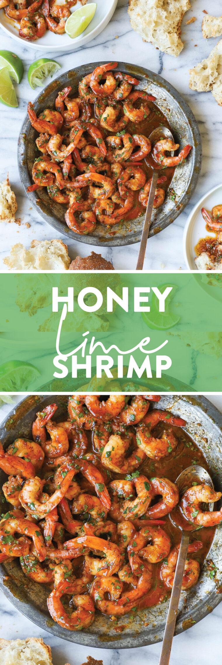 Креветки с медом и лаймом - супер пикантные, чесночные, сладкие и острые!  И он будет на вашем обеденном столе всего за 20 МИНУТ!  Так быстро и так хорошо.